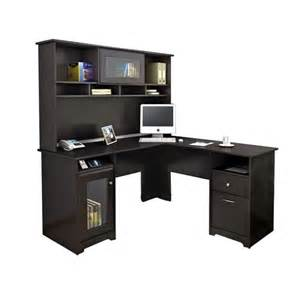 l computer desk with hutch bush cabot l shaped computer desk with hutch in espresso