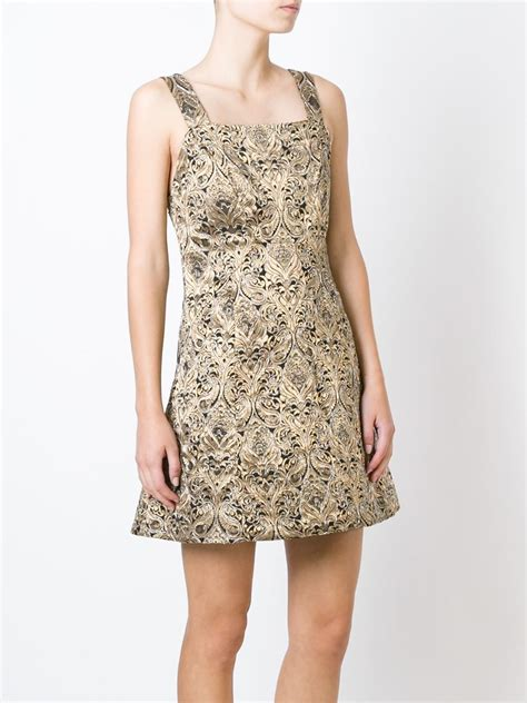 metallic beaded dress beaded jacquard mini dress in metallic lyst