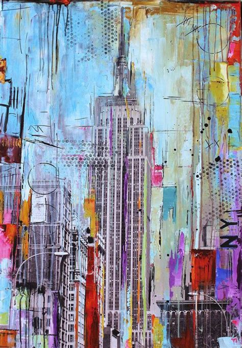 acrylic painting nyc original painting pop abstract painting new york