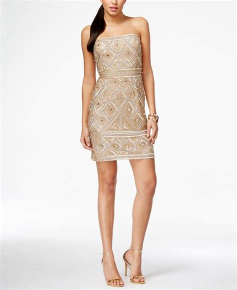 beaded gold dress papell strapless beaded sheath dress in gold