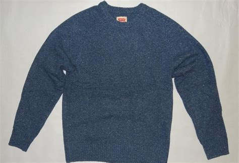 blue knitted jumper mens levi s 98 s jumper wool sweater blue neppy 0001 nwt