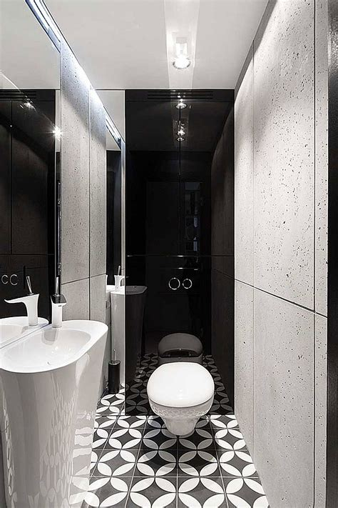 black and white small bathroom ideas posh monochromatic apartment by widawscy studio architektury