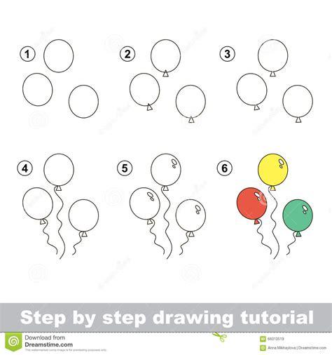by step comment dessiner des ballons illustration de vecteur