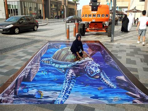 chalk paint dubai 3d streetpainting 3d turtle 2 dubai canvas 3d