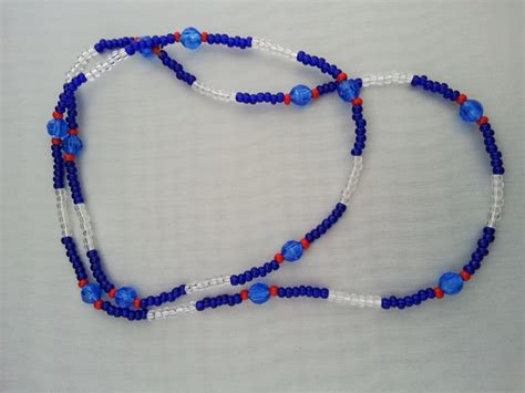 santeria bead necklaces yemaya santeria bead necklace 17 5 inches blue clear