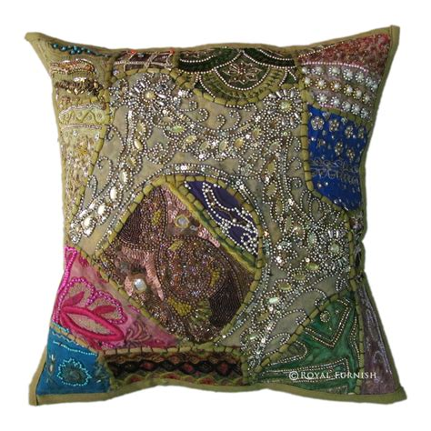 beaded decorative pillows green antique beaded patchwork embroidered accent throw