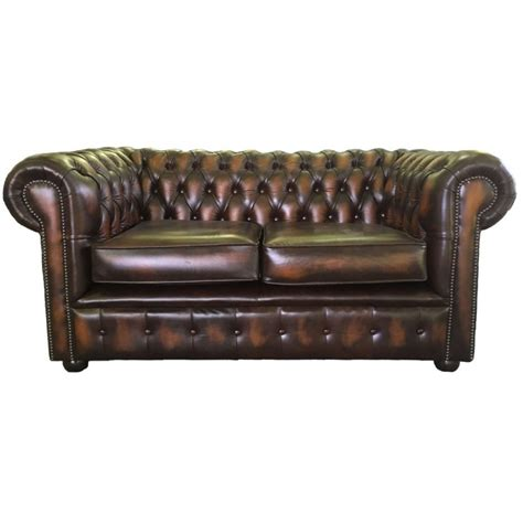 brown leather two seater sofa chesterfield antique brown genuine leather two seater sofa