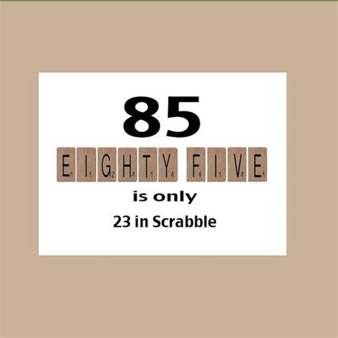 bi in scrabble 85th birthday card 85th birthday milestone birthday the