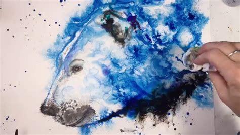 acrylic paint on yupo speed painting a polar using acrylic and india inks
