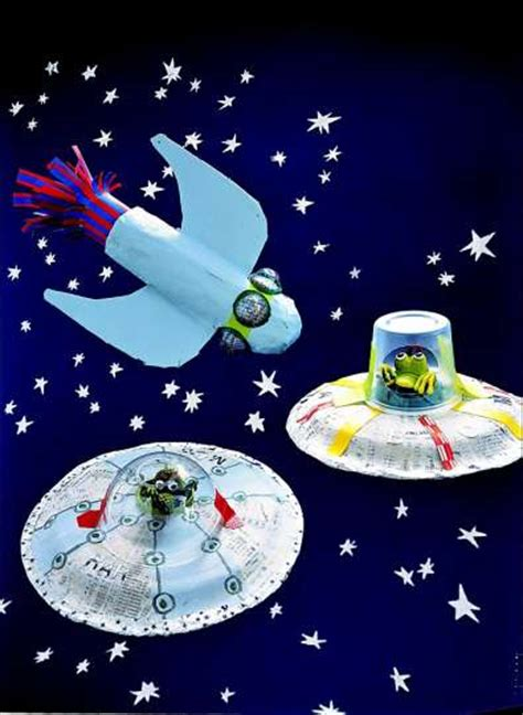 flying crafts for papier mache rocket flying saucer project from martha