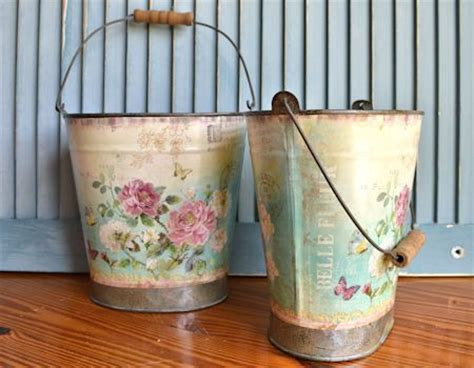 decoupage tin surroundings by melinda decoupage tin buckets
