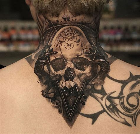 space skull mens neck piece best tattoo design ideas