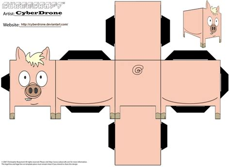 paper cube craft image detail for printable pig cube craft paper toys