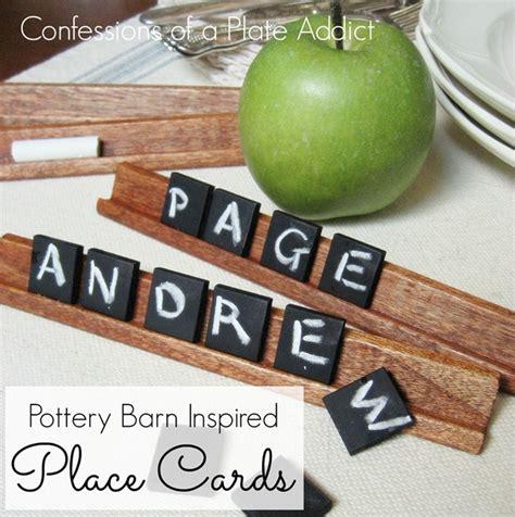 scrabble funplace pottery barn inspired chalkboard tile place cards hometalk