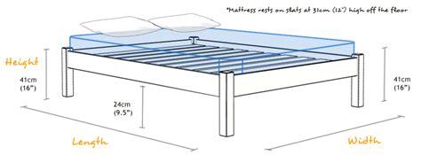 standard size bed frame dimensions platform bed