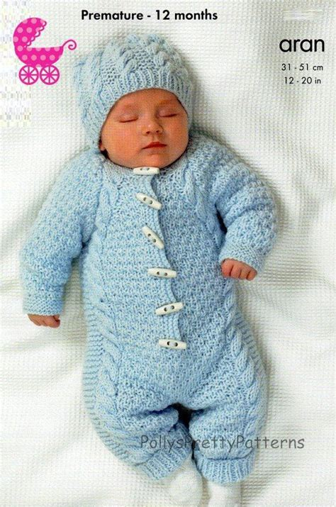 knitted all in one baby suit pdf knitting pattern for an aran knit baby onsie or hooded