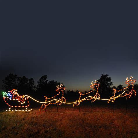 outdoor decorations santa and reindeer shop lighting specialists 4 75 ft santa sleigh