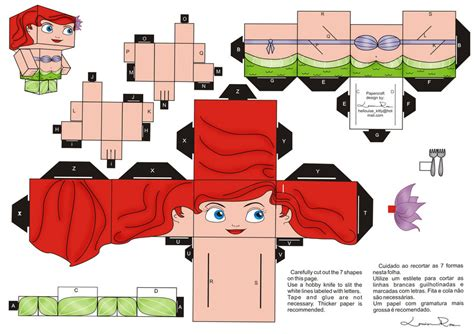 paper craft 3d papercraft ariel 2 by louise rosa on deviantart