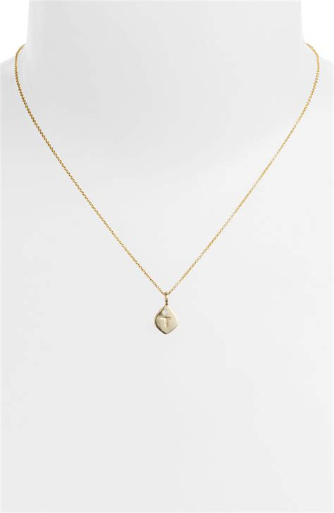 small necklace nunu designs small initial pendant necklace in gold t