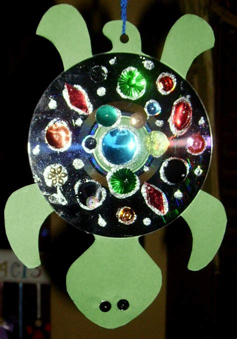 cd craft for hanging cd turtle glitter