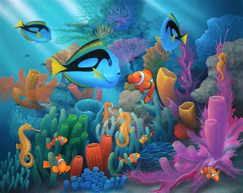 Friends of the sea. Dory and clown fish by artist David Miller