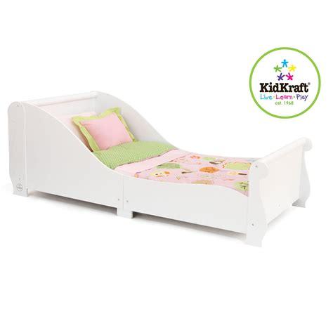 kid craft beds kidkraft sleigh toddler bed white 86730