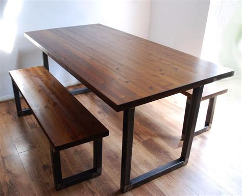 bench kitchen table set industrial vintage rustic dining kitchen table bench set
