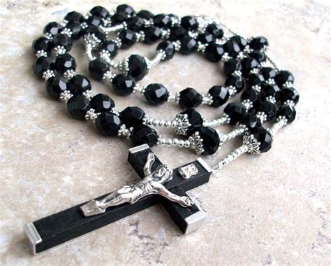 black rosary for mens large black rosary necklace with silver