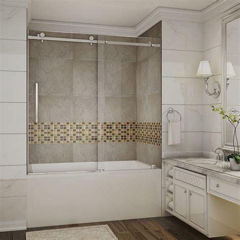 sliding glass shower doors tub aston moselle 60 in x 60 in completely frameless sliding