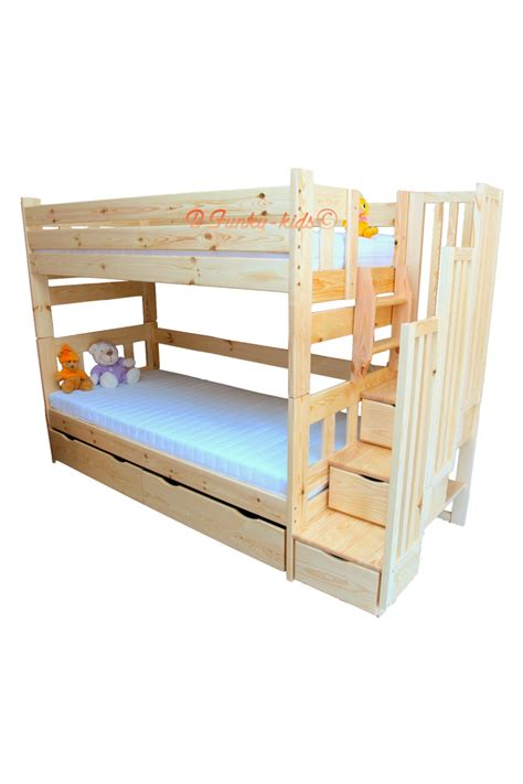 solid pine bunk bed solid pine wood bunk bed with stairs for 3 persons enrique