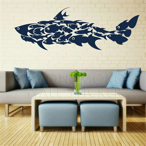 large shark fish decals interior wall stickers mural wallpaper children s room