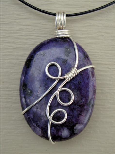 how to make wire wrapped jewelry oval purple sugilite wire wrap necklace pendant