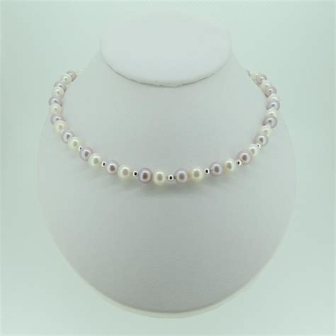 pearl uk pearl and silver bead necklace mhpearljewellery co uk