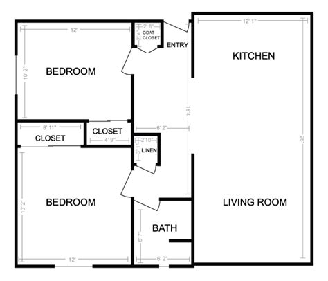 Two Bedroom Floor Plans House beautiful best small one bedroom house plans for hall