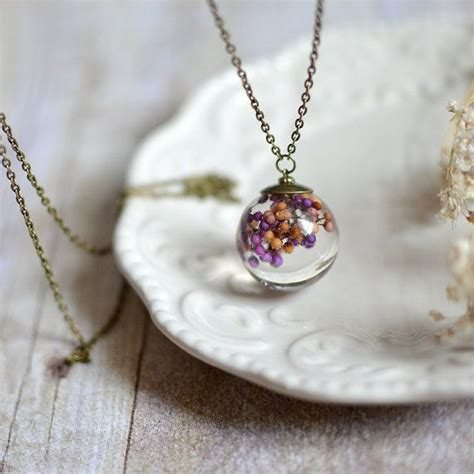 resin jewelry resin jewelry clear orb sphere necklace preserved flower