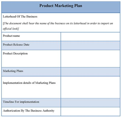product template for marketing plan template of product