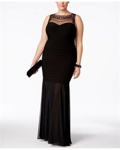 xscape beaded illusion gown xscape plus size beaded illusion mermaid gown in black lyst