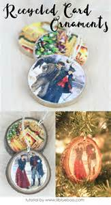 how to make card ornaments recycled card ornaments hackshaw lil
