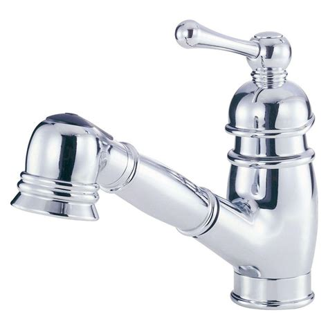 danze pull kitchen faucet danze opulence single handle pull out sprayer kitchen faucet in chrome d457014 the home depot