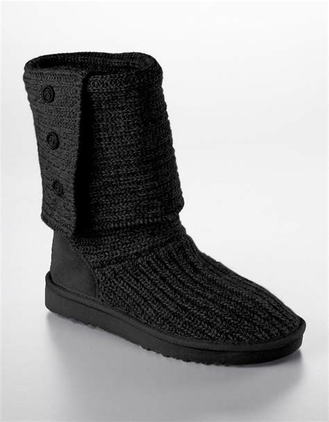 uggs knitted boots ugg australia cardy knit flat boots in black lyst