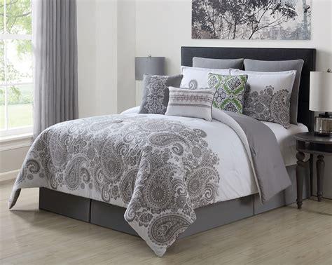 100 cotton comforter sets king 9 mona gray white 100 cotton comforter set