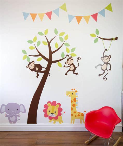 jungle tree wall stickers jungle friends tree wall stickers by parkins interiors