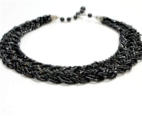 beaded braided necklace items similar to thick black beaded necklace small square