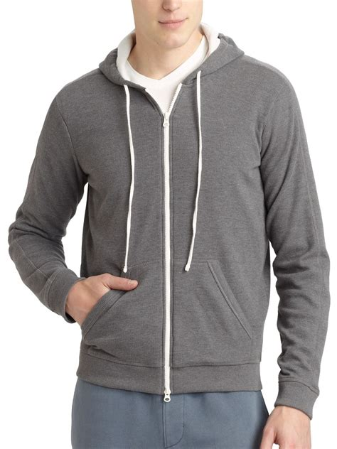 waffle knit hoodie vince jersey lined waffle knit hoodie in gray for