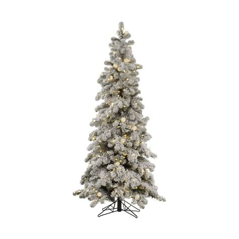 6 foot pre lit white tree shop vickerman 6 ft pre lit flocked slim artificial
