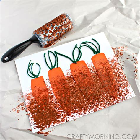 how to do craft for wrap painting carrots in the garden crafty morning