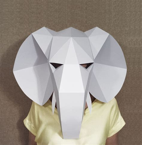 easy paper crafts for adults elephant mask diy paper creation pdf pattern printable
