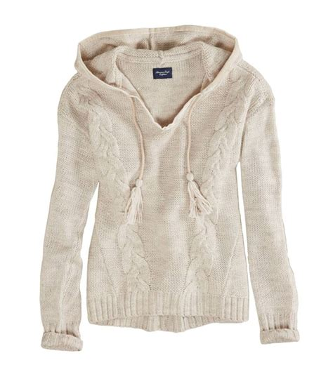 knitted hoodies american eagle cable knit sweater hoodie