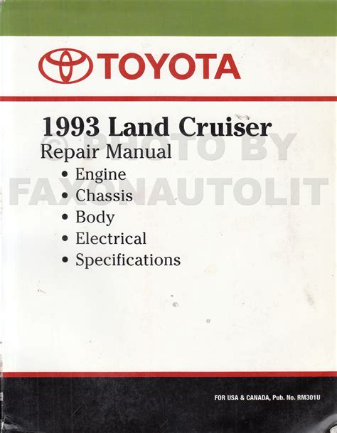 1993 toyota land cruiser repair shop manual factory reprint