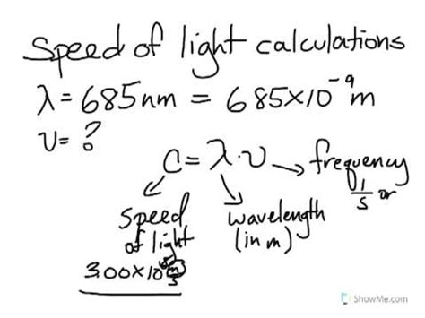 light calculations speed of light calculations